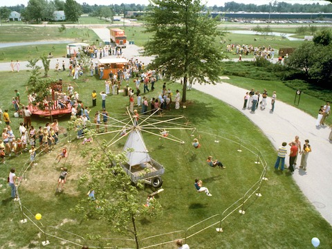 An aerial archival photograph of a picnic from years past.
