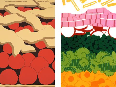 LEFT: 1975 Cherry Pie Poster RIGHT: 1982 Seven Layer Salad Poster