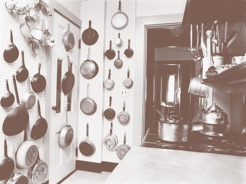 Pegboard wall in Julia's kitchen, 1977. THF286965