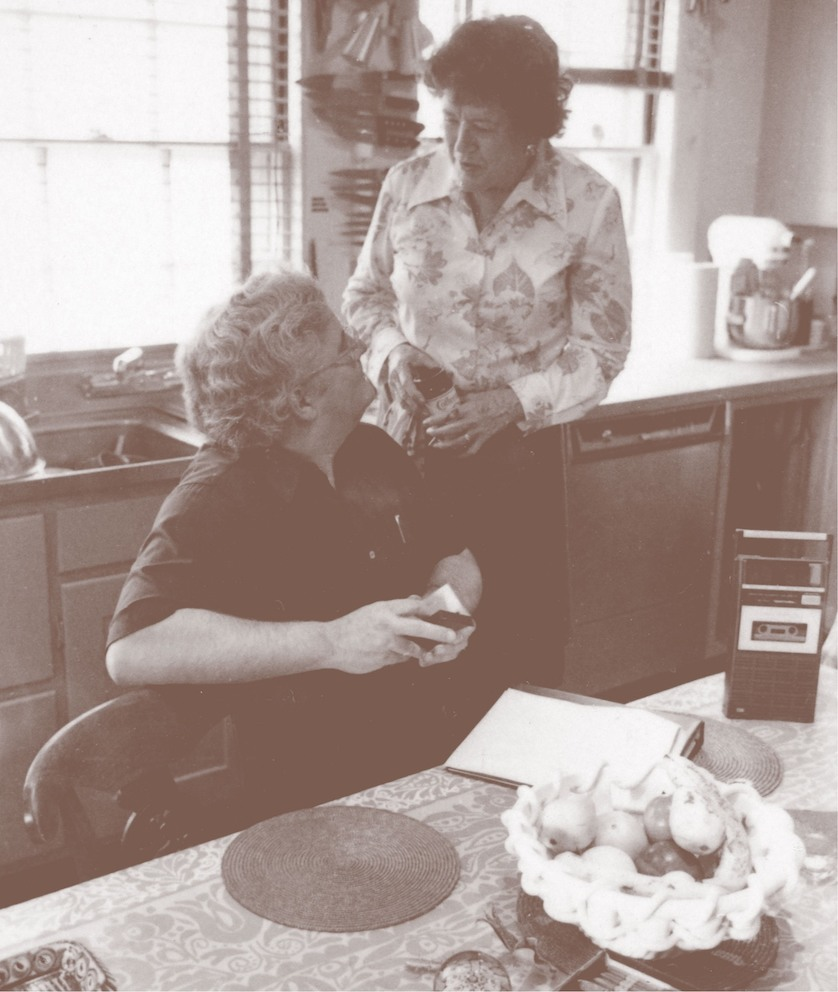 Bill Stumpf and Julia Child in her kitchen, 1977. THF286958