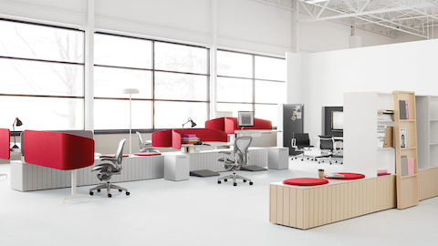 An open work area featuring the Locale system. Select to read an article about design by Industrial Facility's Kim Colin.