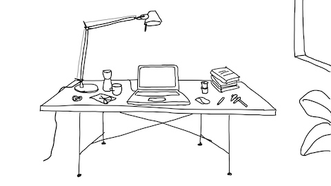A black and white line drawing of the desk in Keiji Takeuchi's home studio, drawn by the designer. He's been working from home since Milan went on lockdown to slow the spread of coronavirus.