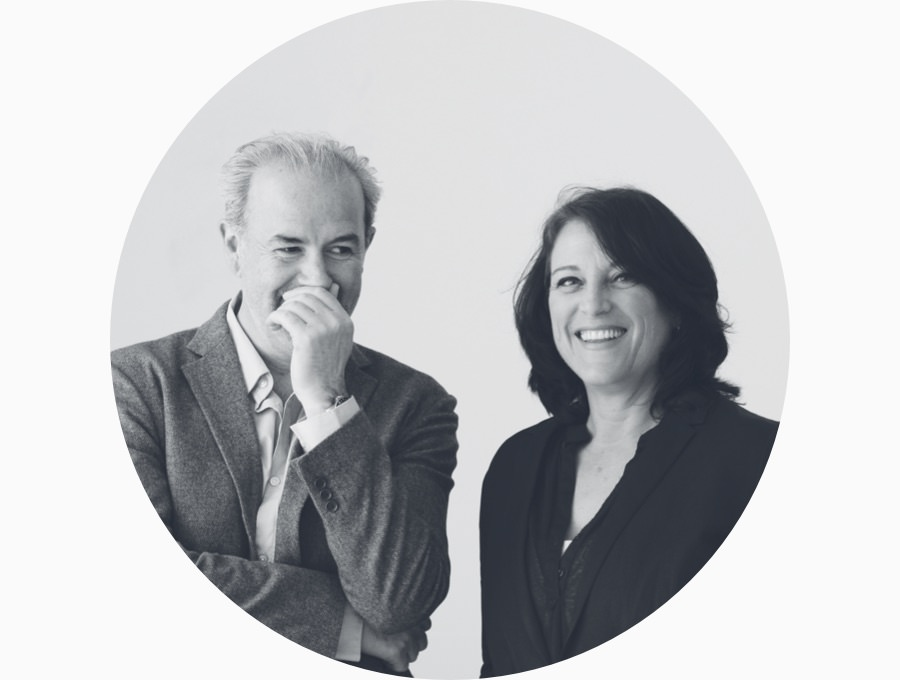 A black and white profile portrait of designers Kim Colin and Sam Hecht of Industrial Facility.