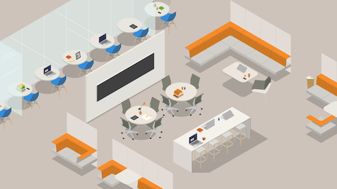 An illustration of an open workplace. Select to read an article about Herman Miller's approach to the Living Office.