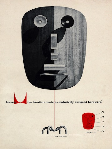 Hardware design print advertisement by Irving Harper for Herman Miller, 1948