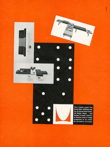 Modular group seating print advertisement by Irving Harper for Herman Miller, 1960