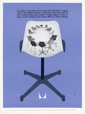 Eames Chair Collection print advertisement by Irving Harper for Herman Miller, 1960