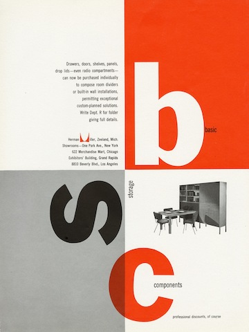 Basic Storage Components print advertisement by Irving Harper for Herman Miller, 1949
