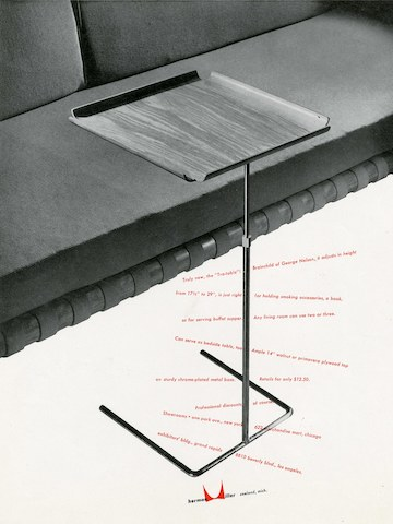 "George Nelson's ""Tra-Table"" print advertisement by Irving Harper for Herman Miller, 1950"