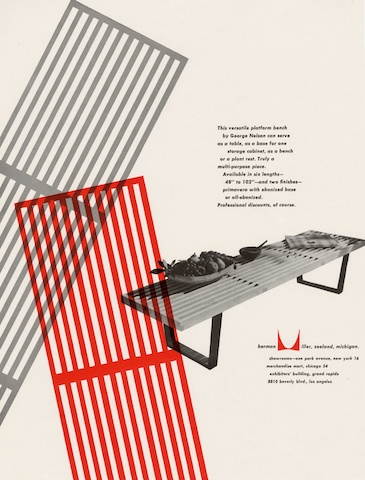 Nelson Bench print advertisement by Irving Harper for Herman Miller, 1950