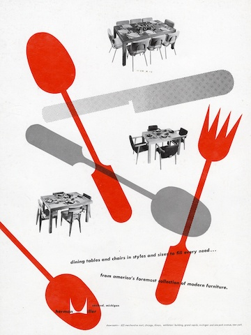 Dining tables and chairs print advertisement by Irving Harper for Herman Miller, 1949