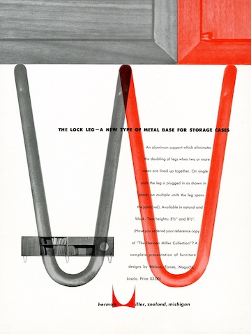 New storage unit base option print advertisement by Irving Harper for Herman Miller, 1948