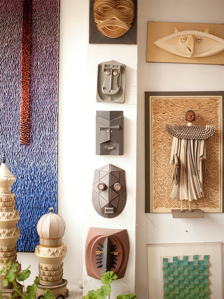 African-inspired artwork on display in designer Irving Harper's home.