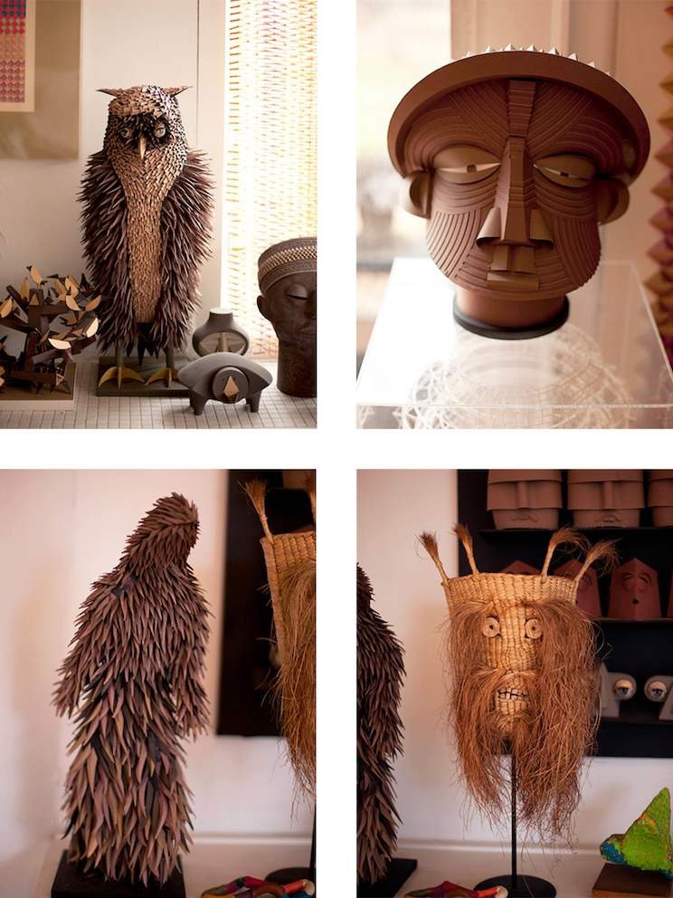 Four images of Irving Harper sculptures, including an owl and a man's head.