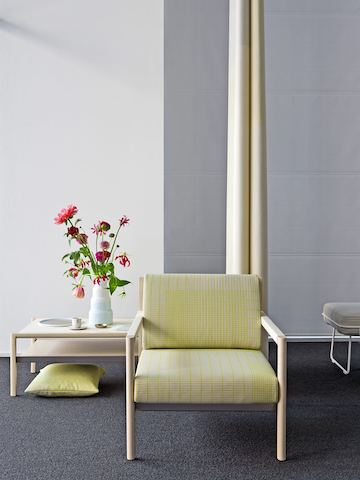 The installation marks the debut of the Herman Miller Collection in Europe. Classic designs from Ward Bennett are available alongside contemporary pieces like this Vincent Van Duysen Brabo lounge chair and side table, and Wireframe ottoman, part of the group designed by Sam Hecht and Kim Colin.