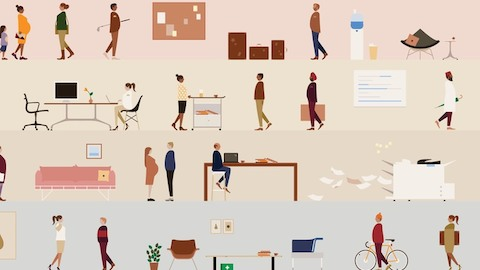 An illustration of people at leisure and at work. Select to go to an article about the connection between place and purpose.
