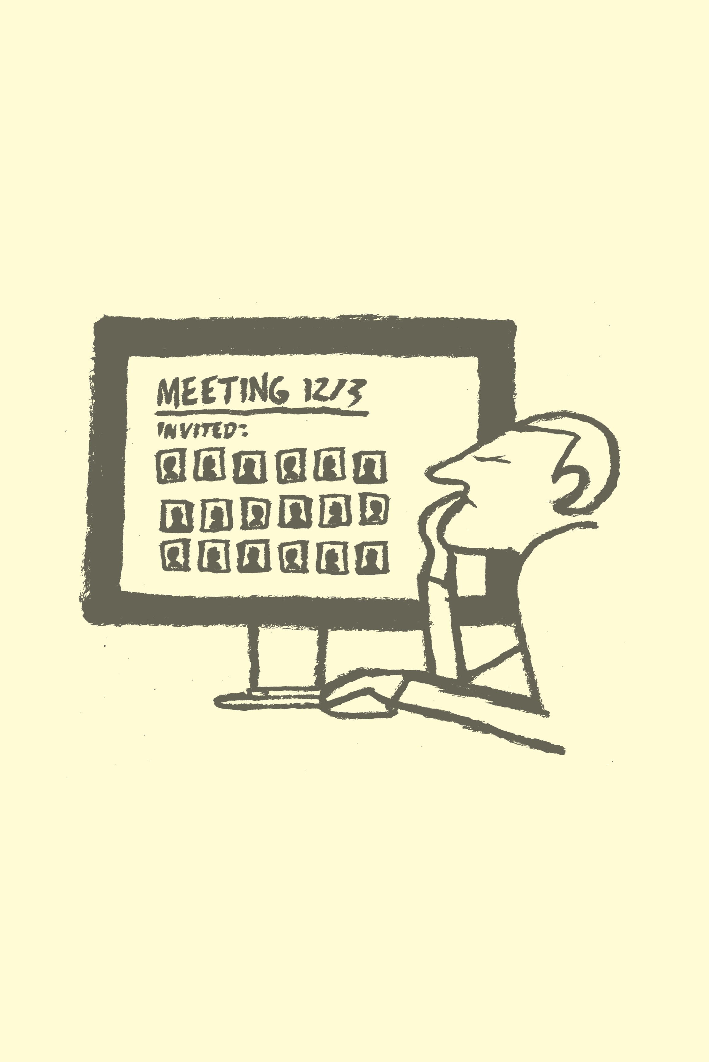 A cartoon of a disgruntled man reviewing a meeting invitation on his monitor.