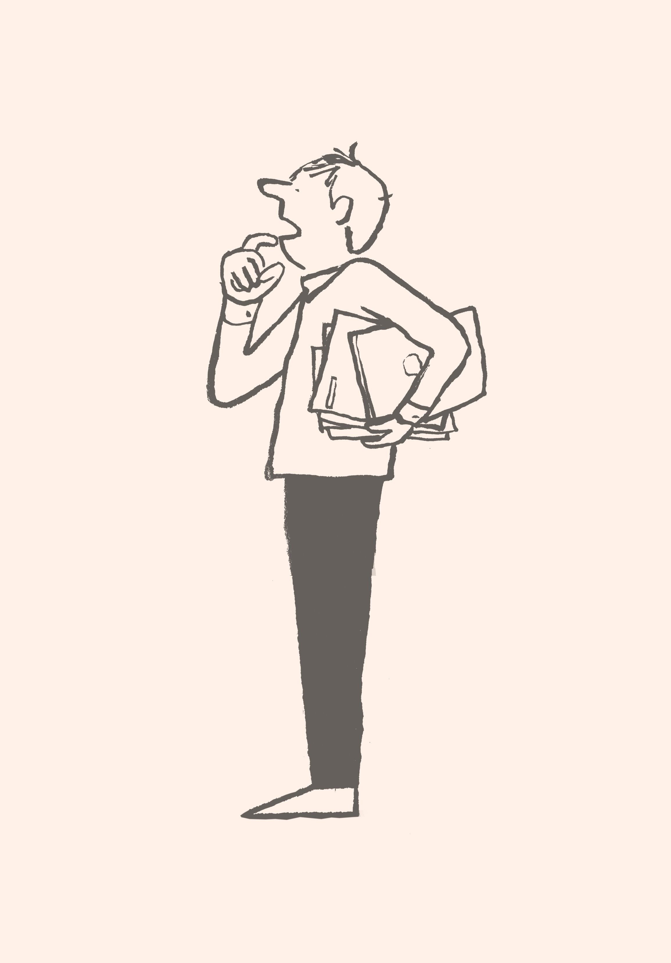 A cartoon of a man holding meeting materials and looking perplexed.