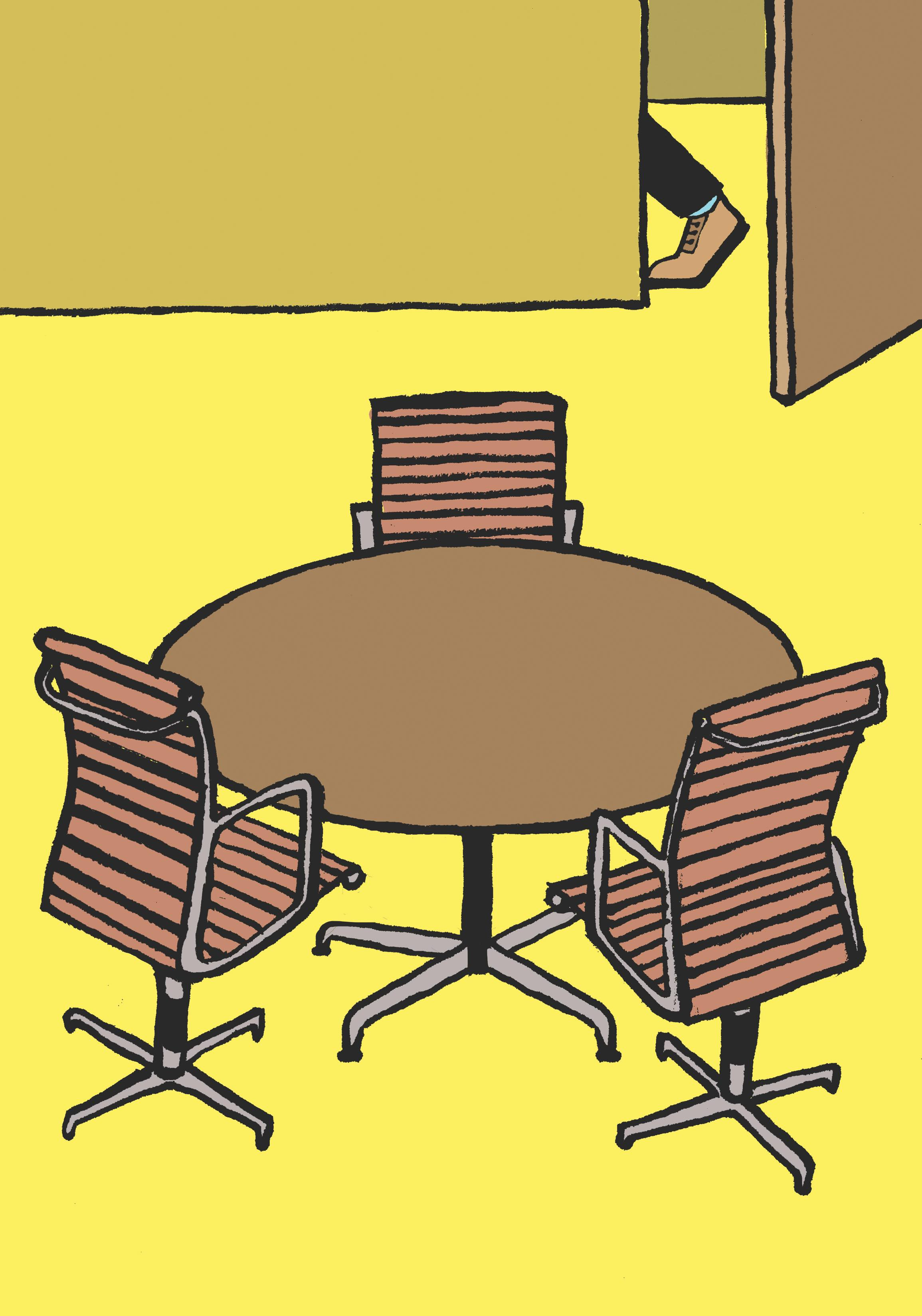 A cartoon of three chairs situated around a round table in an otherwise empty meeting space.