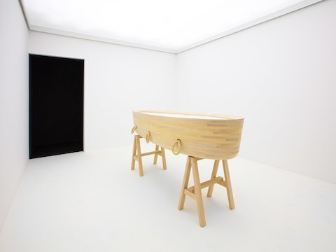 "A recent exhibition of his work at New York City's Espasso Gallery (his first in the United States), entitled A to Z, featured two objects made especially for the show: a cradle and a coffin. ""This idea expresses my wish to design from the beginning of life to the end,"