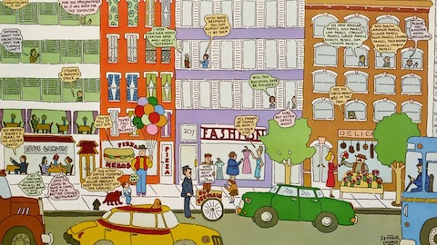 A cartoon depiction of a busy streetscape. Select to go to an article about graphic designer Seymour Chwast's work with Herman Miller.