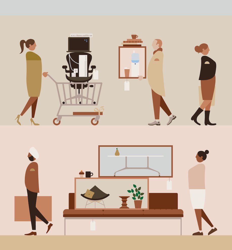 An illustration showing two images of people figuratively shopping for office furniture.