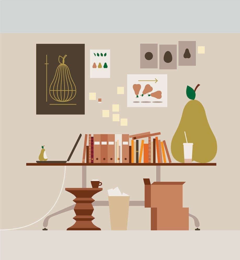 An illustration showing various images of pears in a work setting.