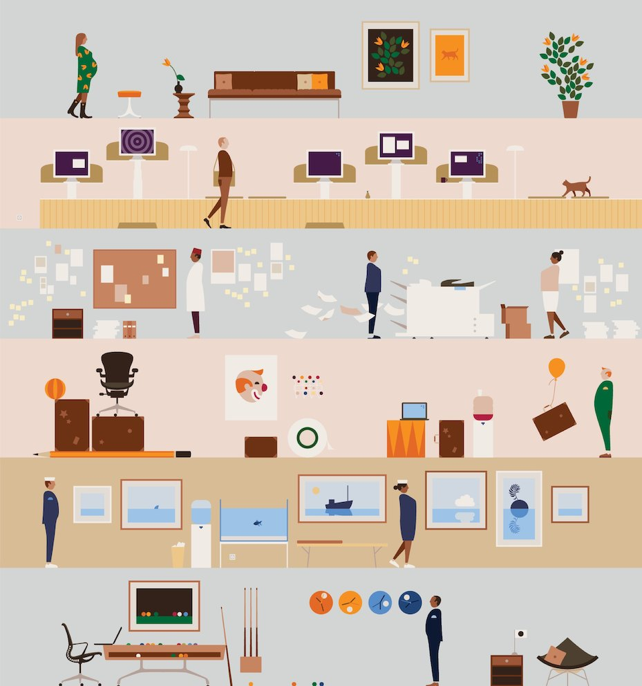An illustration showing six images of people in abstract work settings.