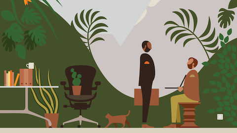 An illustration of two men in an outdoor work setting. Select to go to an article about the new landscape of work.