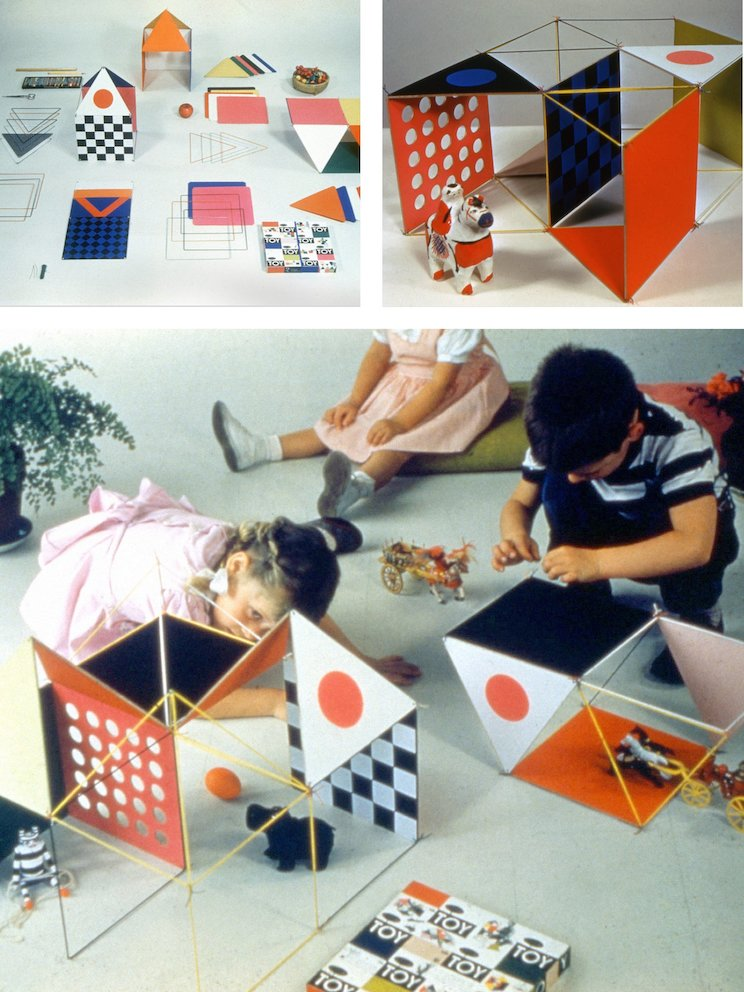 The smaller scale of The Little Toy (top left) allowed children and adults to create their own architectural models (top right, bottom), 1952.