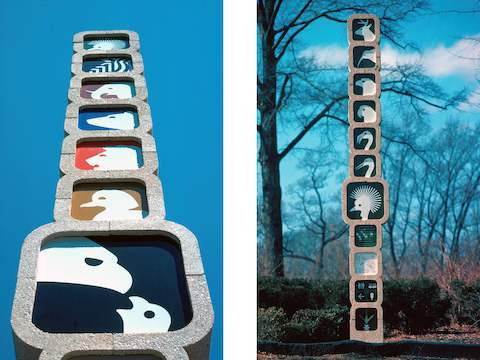 Wayfinding totems from the National Zoo in Washington DC.