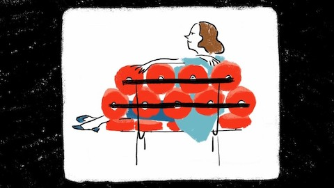 An illustration of a woman on a Nelson Marshmallow Sofa. Select to read an interview with George Nelson's aide Hilda Longinotti.