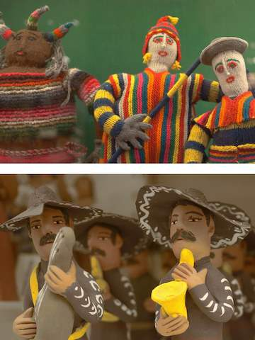Two images of whimsical folk art with a Latin American influence.