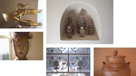 Five images showing various examples of folk art.