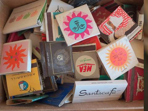 A collection of matchbook covers with Latin American imagery.