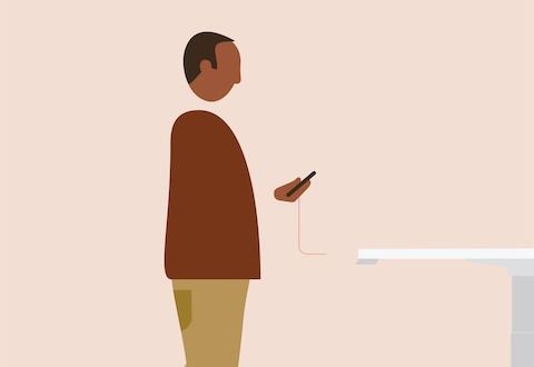 An illustration of a man checking his smartphone.