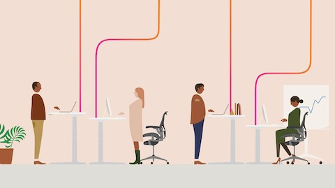 An illustration showing four office workers at sit-to-stand desks positioned at various heights.