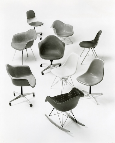 Archival image of the Eames Shell Chair family.