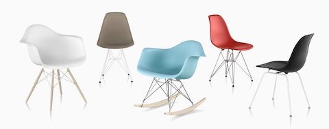 Today's family of Eames Shell Chairs.