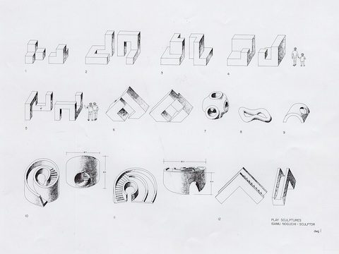 Noguchi study model drawings for play equipment, 1966.