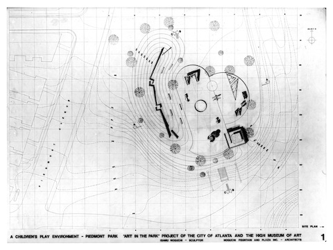 Plan drawings for Playscapes, Piedmont Park, Atlanta.