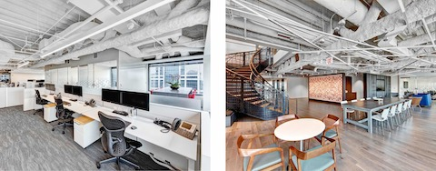 Two images of CBRE's Chicago office. The left shows Mirra 2 Chairs in a benching setup. The right shows an interaction space with a variety of seating.