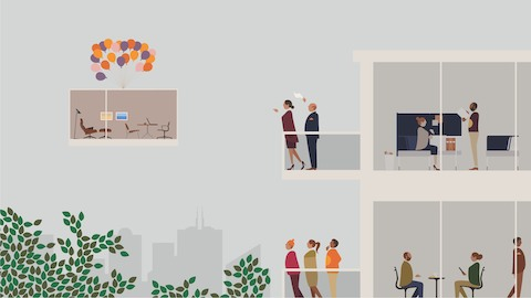 An illustration of people interacting in offices and standing on balconies.