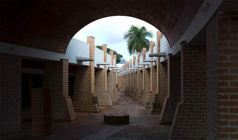 A brick passageway at the Escuelas Nacionales de Arte in Cuba.