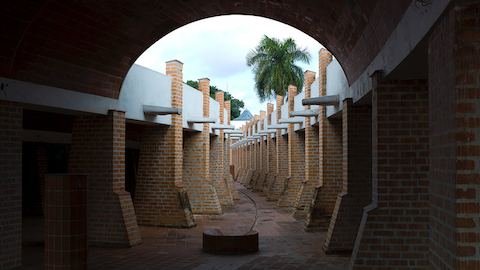 A brick passageway at the Escuelas Nacionales de Arte in Cuba. Select to see travel photos from designer Don Chadwick.