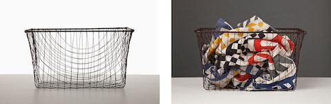 Two images: an empty rectangular wire basket and a rectangular wire basket containing colorful fabric.