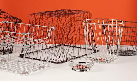 Wire baskets of various shapes.