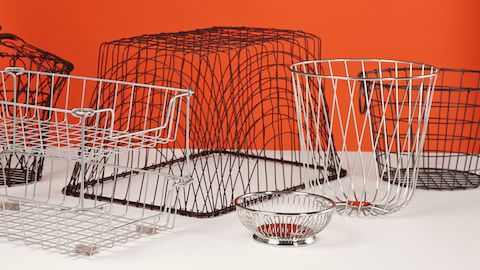 Wire baskets of various shapes. Select to go to a WHY Magazine article about the Wireframe Sofa Group.