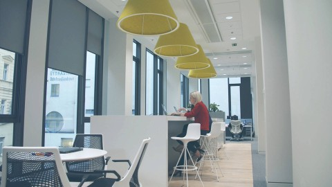 An open work environment with outdoor views. Select to play a case study video featuring Manpower in the Czech Republic.