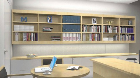 Wall-to-wall overhead bookshelves. Select to view a case study video featuring the University of Michigan Ross School of Business.